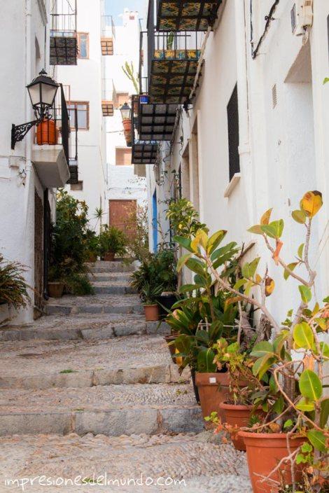 calle-con-plantas-Peñíscola-impresiones-del-mundo